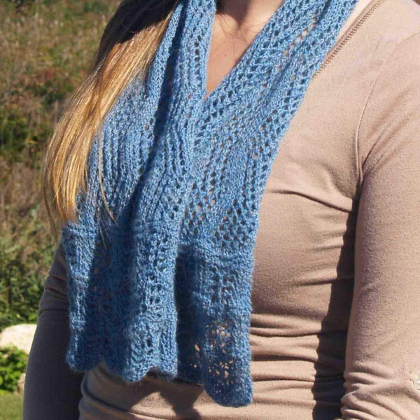 Block Island Wave Scarf Knitting Kit designed by Deborah Newton