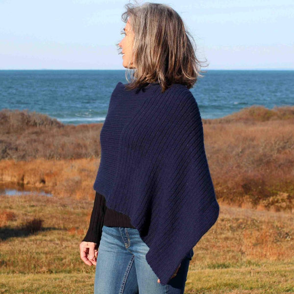 Twice Reverable Ribbed Poncho by Churchmouse in Atlantic