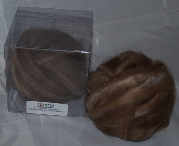 Rovings - Brown Alpaca, Camel & Bamboo 1.5oz