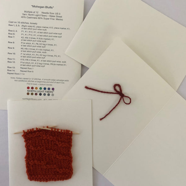 Waffles Swatch Knitting Note Card Knit Kit with 2 skeins of Spring Street Yarn