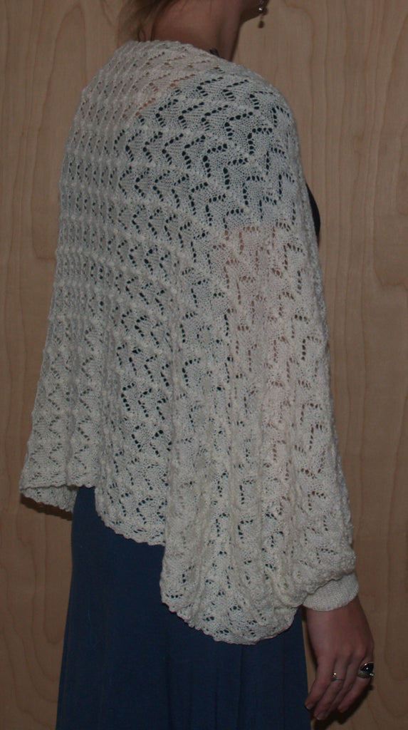 White Block Island Made Sandy Point Shawl: 50% Silk/50% Merino