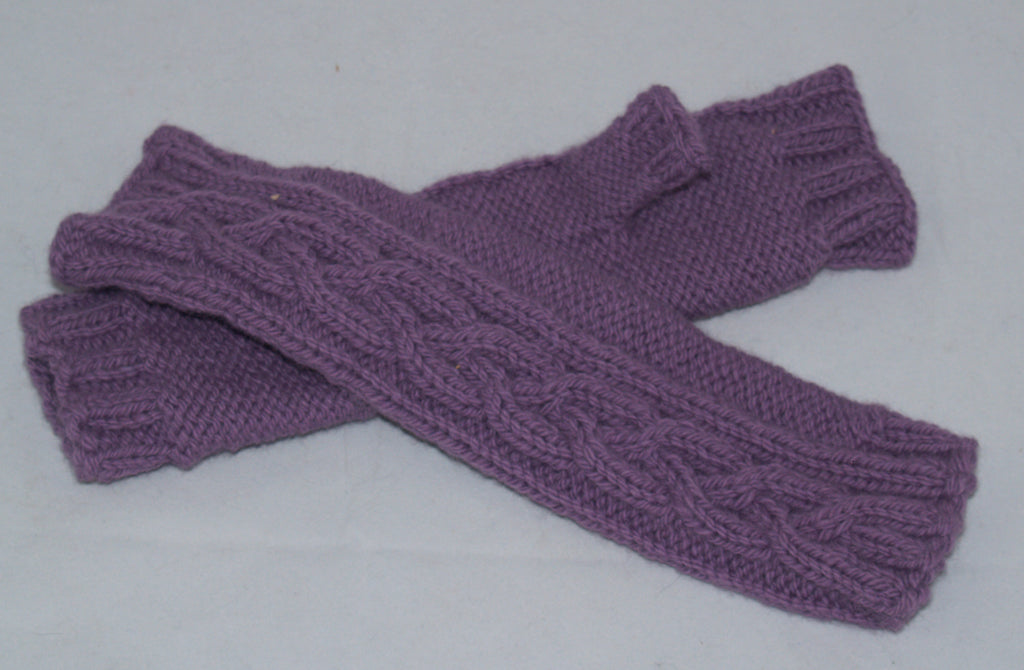 Women's Lavender fingerless Winter Wristlet Gloves