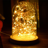 LED Warm White Light Glass Dome Night Light Bell Jar Display Wooden Base