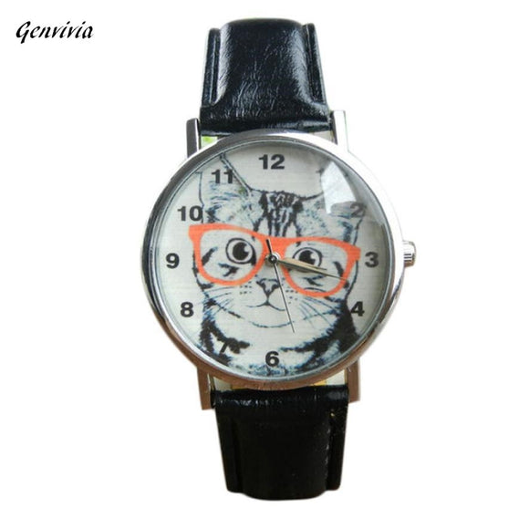 Cute Cat Pattern Women Watch Leather Band Analog Quartz