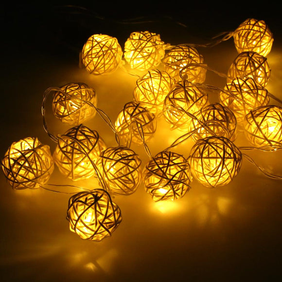 2M 20pcs White Handmade Rattan Balls LED String Lights Battery Fairy Party Wedding Patio Decor
