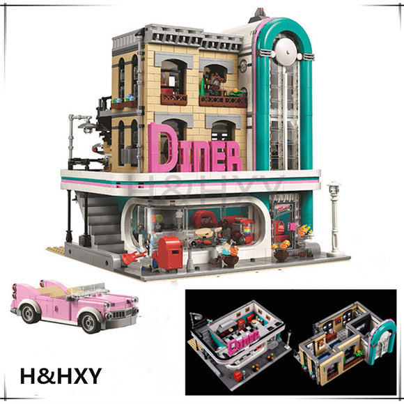 LEPIN Building Blocks Streetview Series The Downtown Diner Set