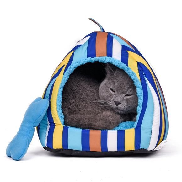 Dog Cat Bed Pet House Warm Soft CottonStriped Patt