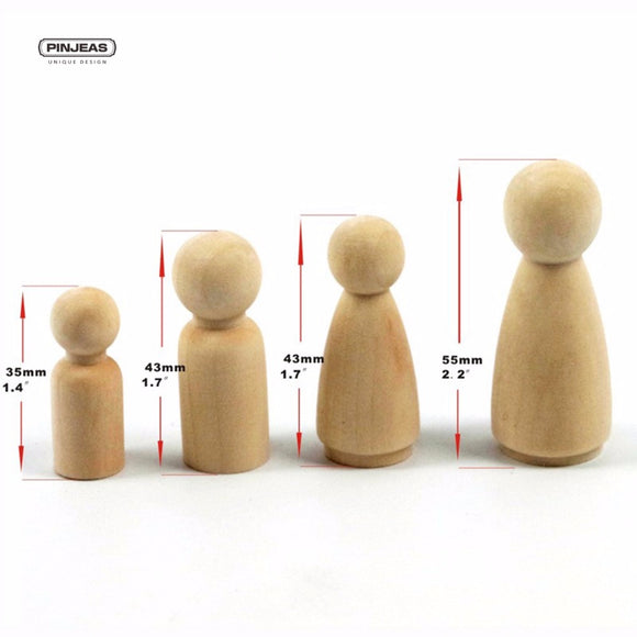 32PC Girl/Boy (35mm 43mm each type 8pc) Peg Dolls Unfinished Wooden People Large Family Peg Dolls Wooden Family DIY Craft