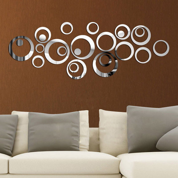 DIY Circles Wall Mirror Stickers Vinyl Sofa TV Background