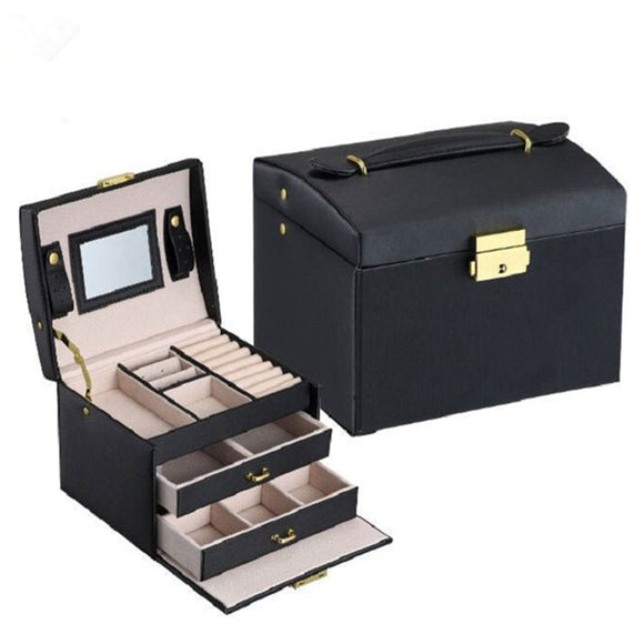 Portable Jewelry Box Makeup Case Organizer perfect girl gift . 12.5cm*17cm