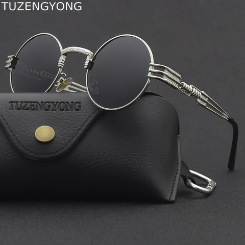 Steampunk Round Glass Sunglasses Bigboystores