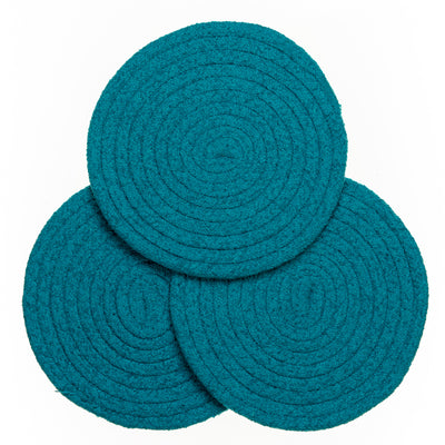 "8"" Chenille Woven Trivets - Set of 3 - Teal"