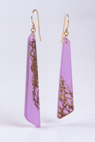 PURPLE FLOATING CACTUS EARRINGS