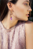 PURPLE QUARTZ HOOP EARRINGS