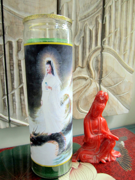 Kuan Yin On Dragon Candle