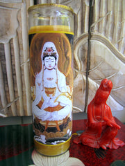 Kuan Yin On Lotus Candle