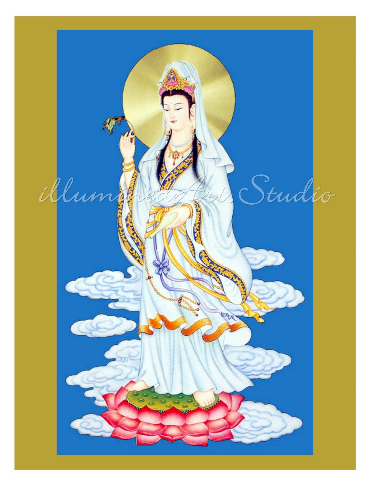 Kuan Yin On Pink Lotus