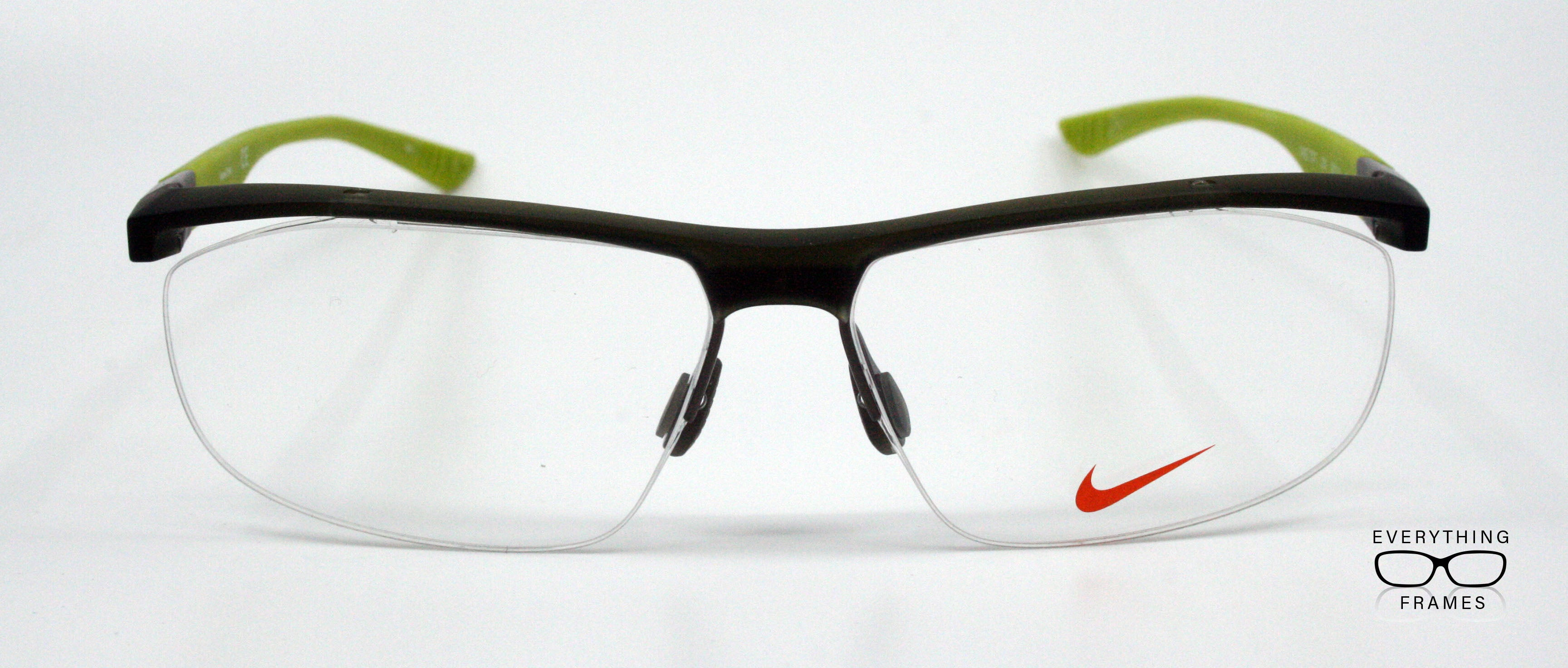a8e23297fc1c Nike Crystal Cargo Khaki / Cyber Rectangle Eyeglasses for Men NIKE7077 229  Front View