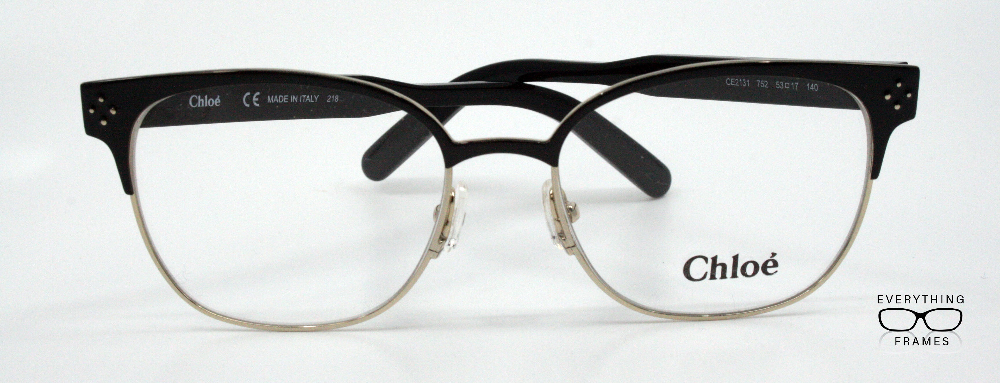 8a5fc55bb0 Chloe Gold   Black Oval Eyeglasses for Women CE2131 752 – Everything ...