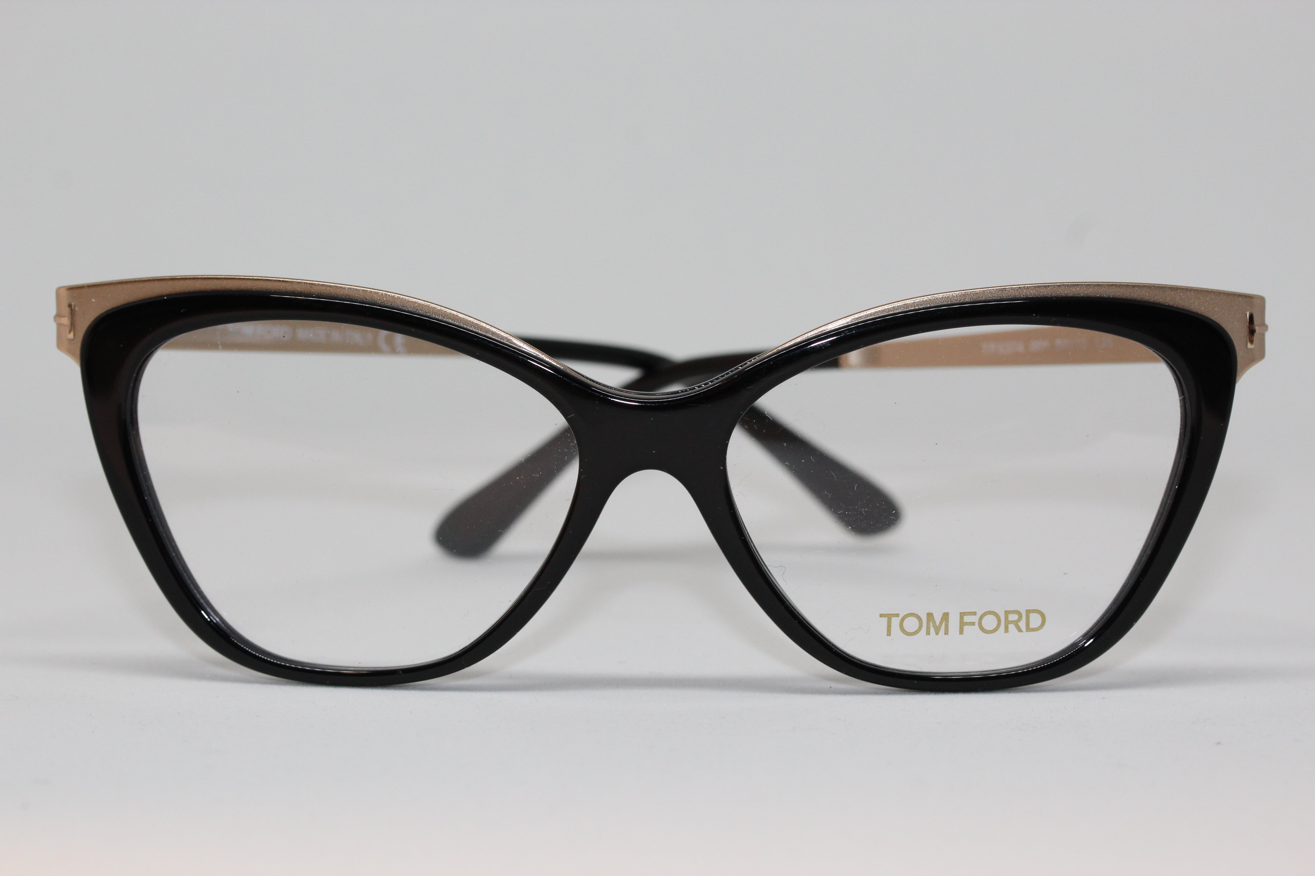6292cc1d4e Tom Ford Shiny Black and Gold Cat Eye Eyeglasses for Women TF5374 001 Front  View