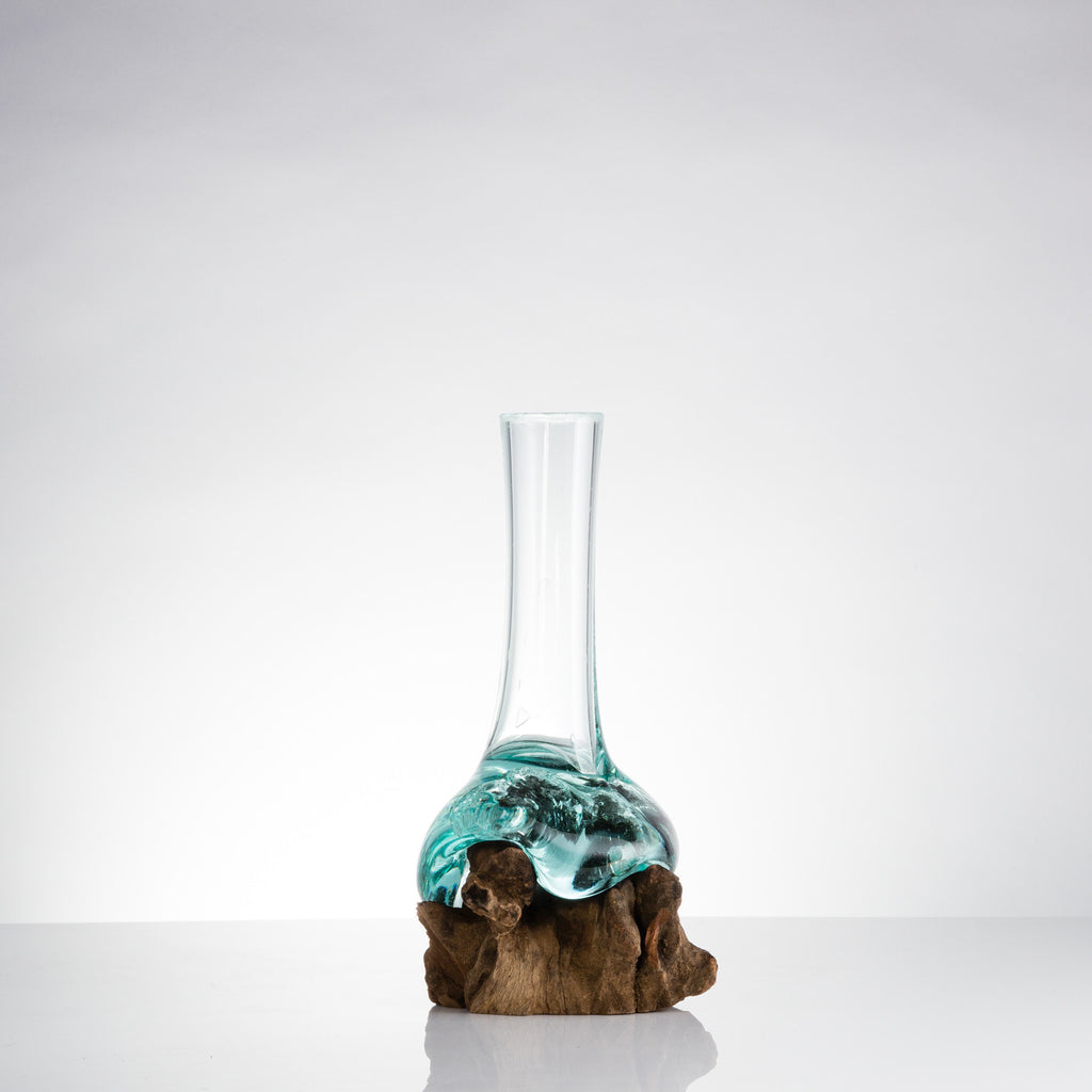 FA66 Single Bud Vase on Teak Wood Base