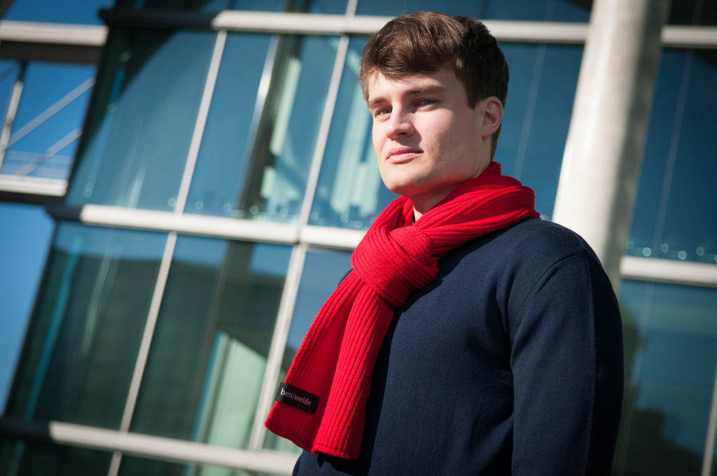 The Red Merino Knit Scarf