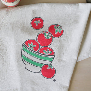 Flour Sack Tea Towel with Ripe Tomatoes