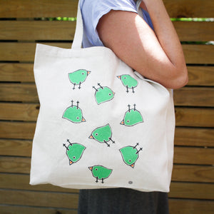 Tote Bag with Happy Birds