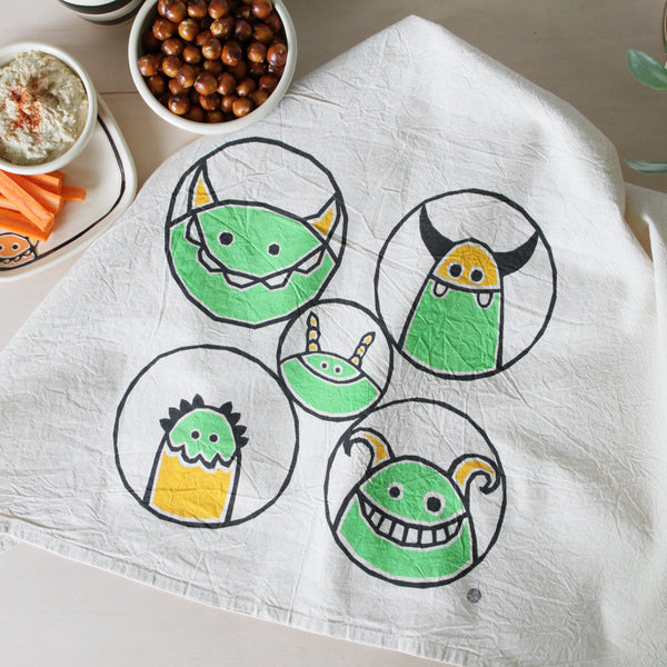 Flour Sack Tea Towel with Friendly Monsters