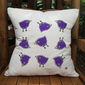 Perky Throw Pillow with Happy Birds