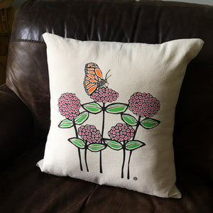 Perky Throw Pillow with Butterfly and Zinnias