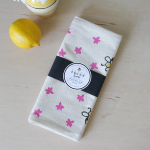 Flour Sack Tea Towel with Bees