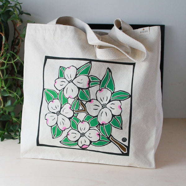 Tote Bag with Dogwood Blossoms