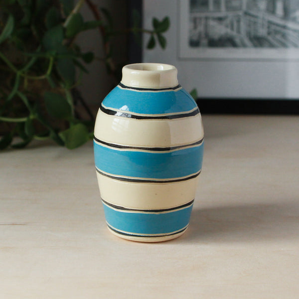 Bud Vase with Rugby Stripes