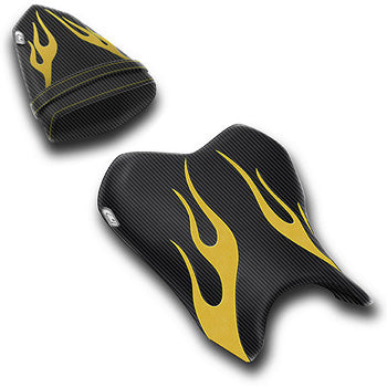 LuiMoto Flame Edition Seat Cover 06-07 Yamaha YZF-R6 - Cf Black/Deep Yellow