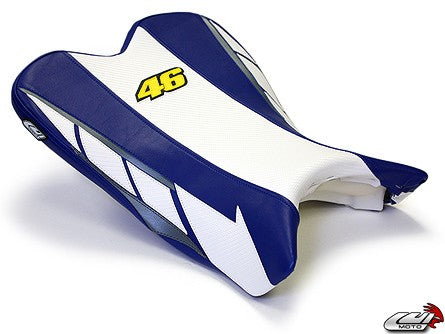 LuiMoto Limited Edition Seat Cover '09-'14 Yamaha YZF R1 - CF White/Blue