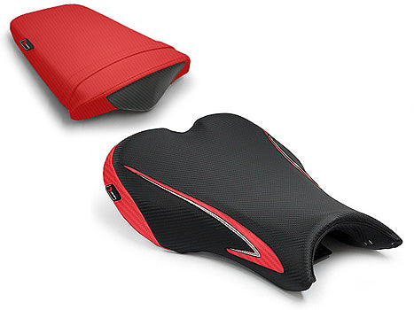 LuiMoto Team Triumph Seat Cover 2006-2012 Triumph Daytona 675/R - CF Black/CF Red