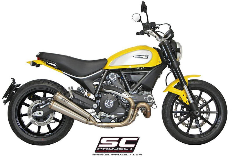 SC Project Conic 70s Double Overlapping Slip-On Exhaust 2015-2018 Ducati Scrambler 800