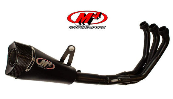 M4 RM1 All Black Full Exhaust System for '16-'18 Yamaha XSR900, '14-'18 Yamaha MT-09/FZ-09 | YA6922