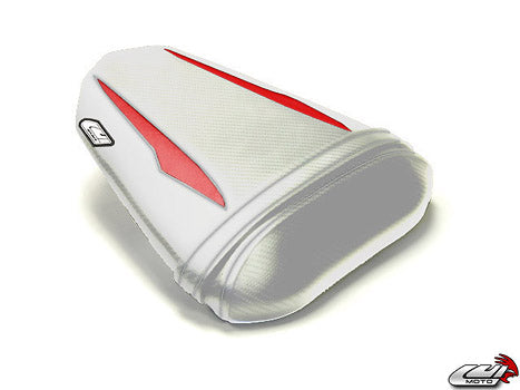 LuiMoto Raven Edition Seat Cover 2008-2015 Yamaha YZF R6 - Cf White/Deep Red
