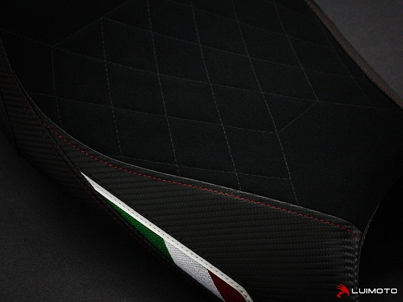 LuiMoto Diamond Edition Seat Cover for Ducati Monster 696/796/1100 - Suede/Cf Black/Red
