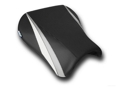 LuiMoto Team Suzuki Seat Covers for 2004-2005 Suzuki GSX-R 600/750 - CF Black/CF Silver/CF Pearl