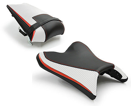 LuiMoto Team Yamaha Seat Cover 2010-2014 Yamaha FZ8 / Fazer 8 - Cf Black/Cf Pearl/Red Black/Cf Pearl/Red