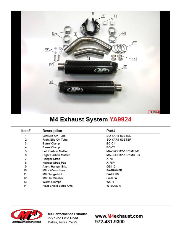 M4 Slip On Exhaust System 2009-2014 Yamaha R1