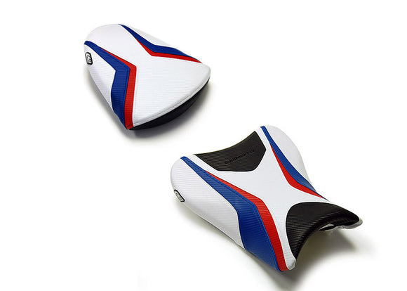 LuiMoto Team Suzuki Seat Covers 2007-2008 Suzuki GSX-R1000 - Cf Black/White/Red/Blue