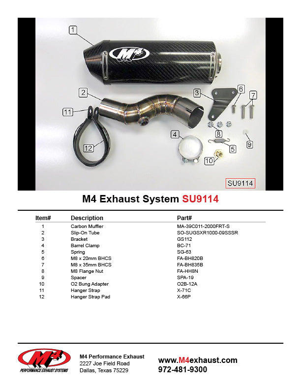 M4 Street Slayer Carbon Slip On Exhaust System 2009-2011 Suzuki GSXR 1000