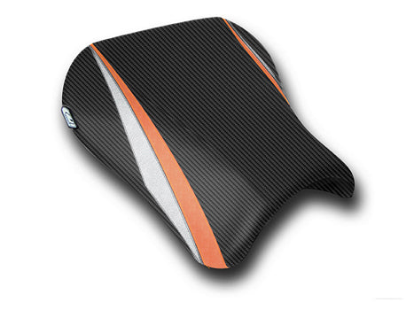 LuiMoto Team Suzuki Seat Covers for 2004-2005 Suzuki GSX-R 600/750 - CF Black/Dark Orange/Silver