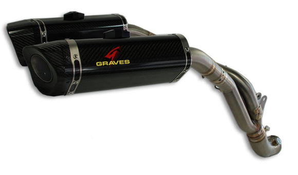 Graves Motorsports LINK Ti/Carbon Cat Eliminator Slip-On Exhaust Systems for 2009-2014 Yamaha YZF R1