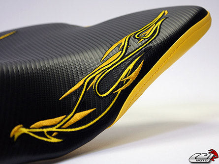 LuiMoto Flame Edition Seat Cover 2009-2014 Yamaha YZF R1 - CF Black/Yellow
