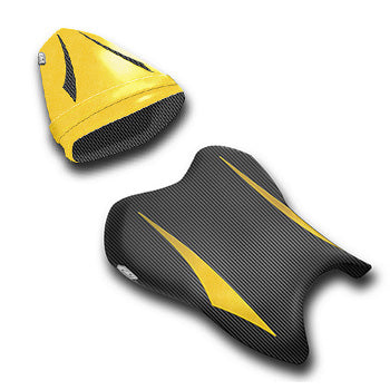 LuiMoto Raven Edition Seat Cover 06-07 Yamaha YZF-R6 - Cf Black/Deep Yellow